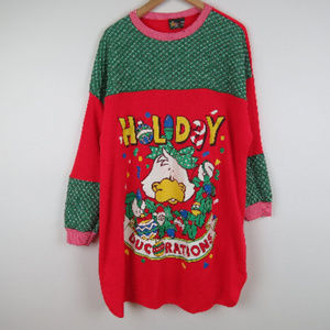 Vintage 90s Ugly Christmas Duck Sweatshirt (D5)